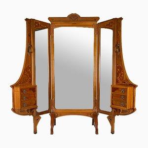 Jugendstil Französischer Cheval Spiegel Raumteiler von Krieger, 1900er