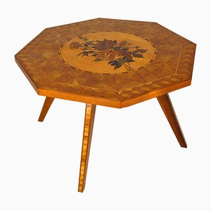 Mid-Century Italian Octagonal Floral Inlaid Side Table, 1950s