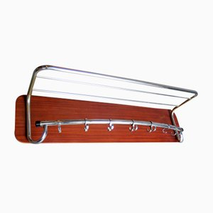 Chrome Metal and Wooden Board Coat Rack, 1950s