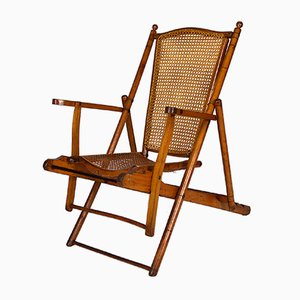 Antique Victorian Folding Steamer Deck Chair, 1900s