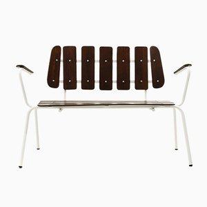 Weiße Metall Bänke mit Holzleisten, 1950er, 2er Set