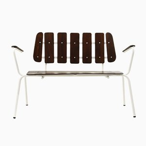 White Metal Benches with Wooden Slats, 1950s, Set of 2