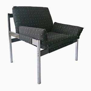 American Chromed Metal and Black Wood Sling Lounge Chairs, 1970s, Set of 2