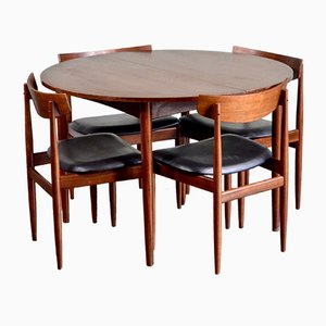 Mid-Century Extendable Round Teak Dining Table & Chairs Set by Ib Kofod Larsen for G-Plan, 1960s, Set of 4