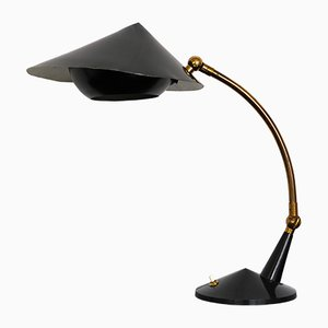 Italienische Vintage Tischlampe aus schwarz lackiertem Messing von Stilnovo, 1950er