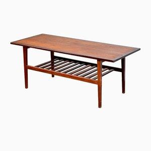 Mid-Century Danish Two-Tier Slatted Teak Coffee Table, 1960s