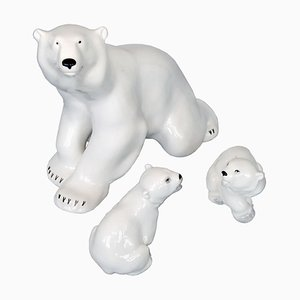 Porcelain Polar Bear and Cubs Sculptures from Lomonosov, 1960s