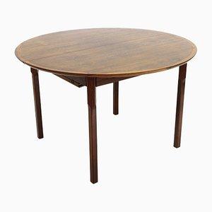 Tavolo da pranzo rotondo allungabile in legno, anni '60