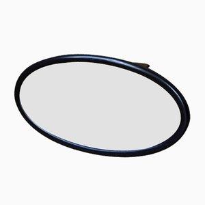 Antique Oval Black Wooden Mirror