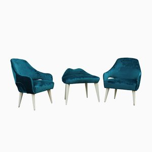 Italian Green Velvet and Lacquered Feet Living Room Set from Dassi, 1950s, Set of 3