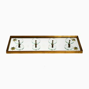 Large Mid-Century Wooden Wall Coat Rack with Glass and Brass Hooks, 1950s