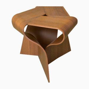 Mid-Century Dark Teak Plywood Mushroom Stool by Yamanaka Group for Tendo Mokko