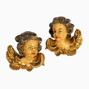 Italian Handmade Wooden Angel Head Sculptures, 1930s, Set of 2