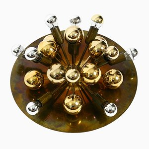 Large Space Age Brass Color Sputnik Ceiling Lamp from Cosack, 1970s