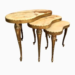 Italian Kidney Shaped Onyx and Brass Side Tables, 1970s, Set of 3