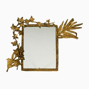 Small Rococo Style Gilded Bronze Floral Wall Mirror, 1930s