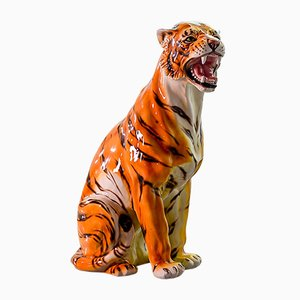 Large Ceramic Asian Tiger Statue, 1980s