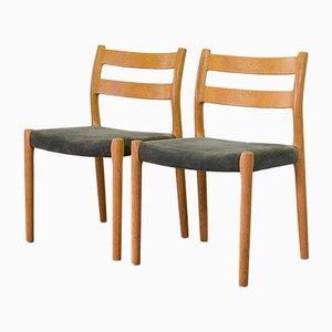Solider Buchenholz und Grau Samt Modell 84 Esszimmerstühle von Niels Otto Møller für JL Møllers, 1960er, 4er Set