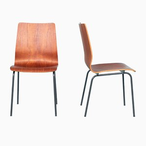 Dutch Steel and Teak Plywood Model Euroika Dining Chairs by Friso Kramer for Auping, 1960s, Set of 2