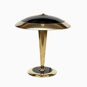 Lámpara de mesa italiana Regency de latón, años 70