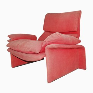 Vintage Italian Red Velvet Armchair by Giovanni Offredi for Saporiti Italia