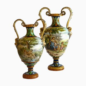 19th Century Renaissance Style Italian Majolica Vases from Ginori, Set of 2