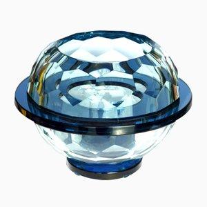 Cuenco italiano de vidrio diamante, años 60