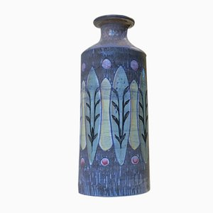 Danish Ceramic Vase with Glazed Leaves by BJ for Green, 1960s