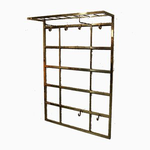 Hollywood Regency Italian Brass Wall Coat Rack, 1970s