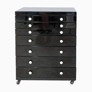 Vintage French Black Lacquered Dentist Storage 7-Drawer Cabinet, 1960s