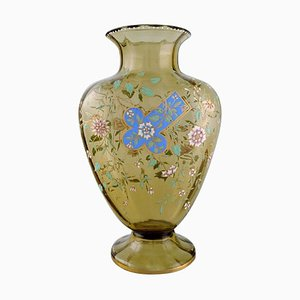 Large Antique Vase in Smoke Colored Art Glass by Emile Gallé, France, 1890s