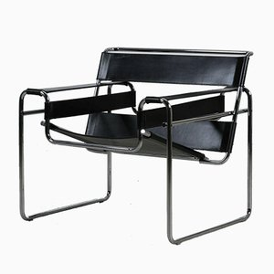 Bauhaus Black Leather B3 Wassily Chair by Marcel Breuer for Gavina, 1980s