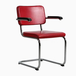Bauhaus Red Leather S64 PV Cantilever Chair by Marcel Breuer for Thonet, 1990s