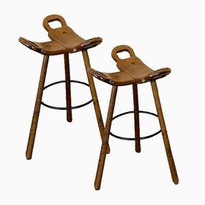 Tabourets de Bar Attribués à Carl Malmsten, Suède, 1950s, Set de 2