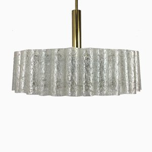 Large Space Age Brass and Glass Chandelier from Doria, 1960s