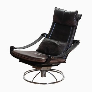 Artistic Leather Swivel Relax Chair by Ake Fribytter for Nelo, Sweden, 1970s