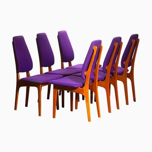 Slim Teak High Back Dining Chairs by Erik Buch for O.D. Møbler, 1960s, Set of 6