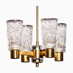 Brass and Crystal Glass Chandelier by Carl Fagerlund for Orrefors, Sweden, 1950s