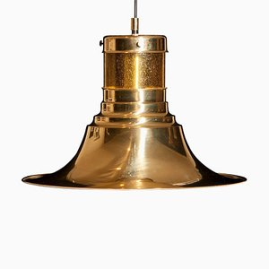 Brass and Glass Pendant Lamp by Börje Claes for Norellet, Sweden, 1970s