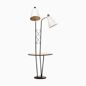 Black Metal Double Lights Floor Lamp with Table and Brass Details, Sweden, 1950s