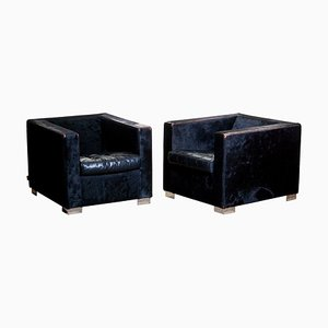 Black Club Chairs in Pony and Leather by Rodolfo Dordoni for Minotti, 1999, Set of 2