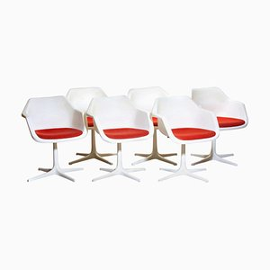 White Swivel Chairs by Robin Day for Hille, France, 1960s, Set of 6
