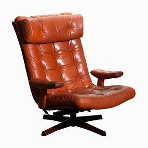 Cognac Leather Swivel Relax Lounge Easy Chair from Göte Design Nässjö, 1960s