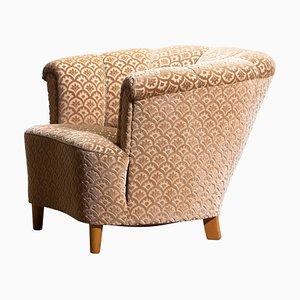 Velvet Jacquard Club Cocktail Chair, Sweden, 1940s