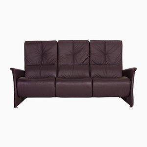 Aubergine Purple Leather 3-Seat Sofa from Himolla