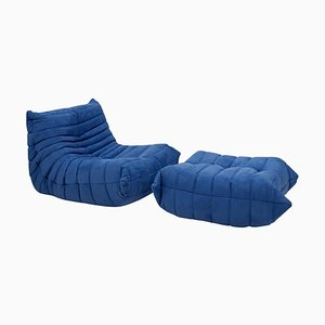Togo Blue Armchair & Footstool by Michel Ducaroy for Ligne Roset, 1970s, Set of 2