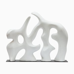 Mid-Century Abstract White Sculpture, 1980s