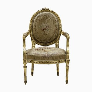 Louis XVI Armchairs in Giltwood, 1880s, Set of 2