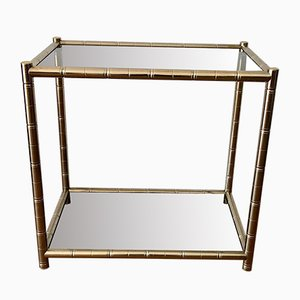 Golden Faux Bamboo Shelf Side or Bedside Table, 1970s
