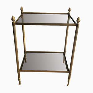 French Brass Side Table with Smoked Glass Shelves from Maison Bagués, 1940s